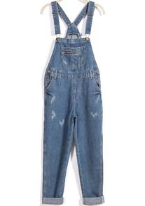 9bc78a2c0500 Blue Strap Ripped Denim Jumpsuit Rompers Women