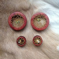 hand carved wooden dream catcher gauges. IS THIS REAL LIFE?! Cool!!!