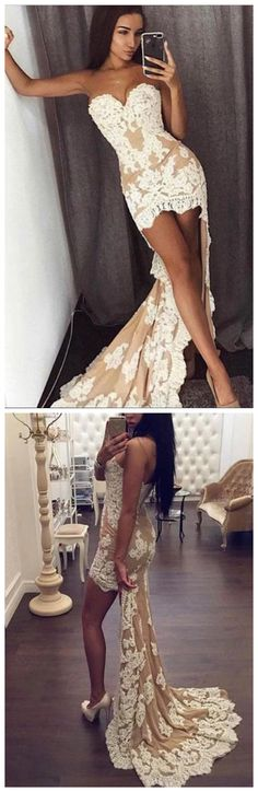 This dress could be custom made, there are no extra cost to do custom size and color, High Low Strapless Evening Dress Sexy Lace Sweetheart Sleeveless Mermaid Prom Dresses Senior Prom Dresses, Sparkly Prom Dresses, Simple Prom Dress, Prom Dresses For Teens, Graduation Dresses, Party Dresses, Cheap Prom Dresses Uk, Dress Party, Wedding Dresses
