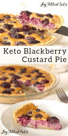 Custard Pie with Blackberries - Easy Keto Low Carb THM S Gluten-Free Grain-Free - This Blackberry Custard Pie is such a pretty dessert. With a press in pie crust & custard made in your blender, it has just 10 minutes of prep time. Low Carb THM S - Custard Desserts Keto, Keto Friendly Desserts, Gluten Free Desserts, Keto Snacks, Dessert Recipes, Holiday Desserts, Plated Desserts, Recipes Dinner, Cocktail Recipes