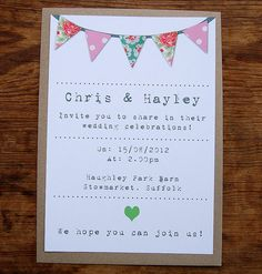 Bunting wedding invitation on white paper