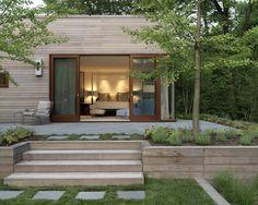 modern house exterior garden deck