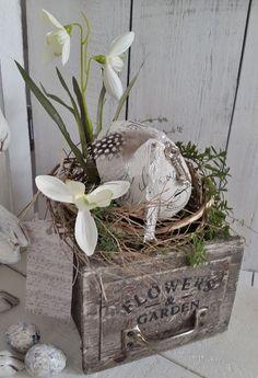 Holzkistchen mit Frühlings Hübsch Vögelchen