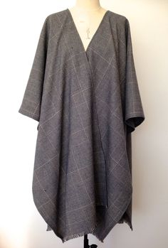 Checkered Poncho - Prince of Wales Check Cape - Large Oversized Poncho - Winter Wool Blanket Poncho for Men - Mens Poncho Cape - Made in UK by CardamomClothing on Etsy