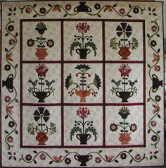 Applique flower quilt made by Eva Johansen DK