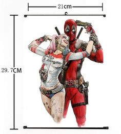 Fan fiction crossover: Deadpool and Harley Quinn. Their insanity has been considered by many to be a far better match than that of Harley Quinn's and the Joker's. Comic Book Characters, Comic Character, Comic Books Art, Comic Art, Female Characters, Heros Comics, Marvel Dc Comics, Marvel Fan Art, Dead Pool
