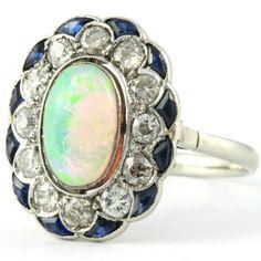 Antique jewelry Estate opal engagement ring diamond sapphire platinum