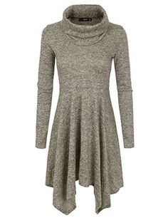 0dea4630935 NINEXIS Womens Cowl Neck Long Sleeve Flowy Sweater Dress ... https
