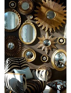 Nothing makes a wall shine more than a grouping of designer mirrors. Mix gold mirrors with silver mirrors with starburst mirrors with round mirrors with convex mirrors. Shiny. Matte. Sparkly. Bold. Simple. Any mirror works when grouped together. Walls: Mirrors