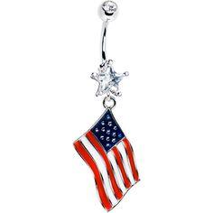 USA American Flag Dangle Belly Ring | Body Candy Body Jewelry #bodycandy $11.99
