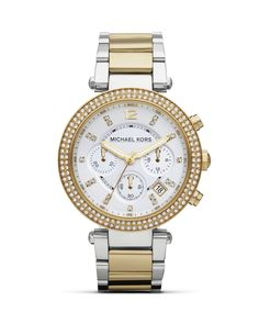 Tap this season's duo tone watch trend with this stainless steel bracelet from Michael Kors. It's chronograph movement is ever-practical while glitz accents give this piece a distinctive stamp. | Gold
