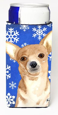 White Snowflake Chihuahua Christmas Ultra Beverage Insulators for slim cans RDR3011MUK