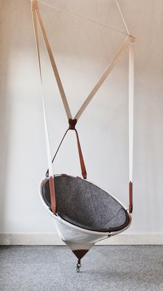 "worclip: "" Chaise Suspendue / Hanging Chair by Felix Guyon "" La Ferme is a line of furniture, custom designed for the Hôtel La Ferme of Baie-Saint-Paul in the magnificent Charlevoix region. Diy Hammock, Hammock Chair, Swinging Chair, Hammock Ideas, Chair Swing, Modern Hanging Chairs, Funky Furniture, Furniture Design, Bed Furniture"