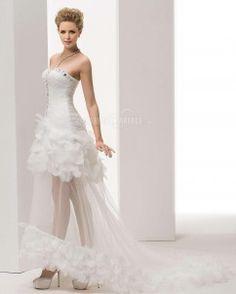 Magnifique robe de mariée traîne watteau organza col en cœur