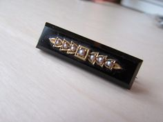 Victorian French Jet Seed Pearl Mourning Brooch by GraciousGood