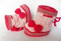Knitted baby booties, woolen baby shoes, pink baby booties,handmade, baby accessories,  READY TO SHIP on Etsy, $22.00