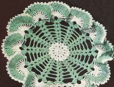 1950's Sea Shells Ruffle Doily Vintage Crochet Pattern by annalaia, $3.75