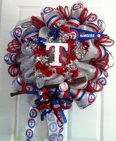 etsy baseball   TEXAS RANGER Baseball wreath by TheCenterpieceLady on Etsy