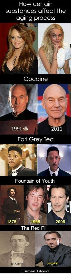 Celebrity Substances affect ageing. Cocaine, Earl Grey Tea, Fountain of Youth, The Red Pill, Human Blood