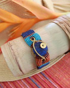 Beaded and woven bracelet