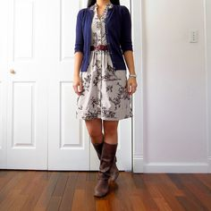 Cardigan & boots with a belted summer dress for fall