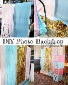 DIY photo backdrop tutorial - Gender Reveal / Baby Shower PARTY ideas - decorations - Large display, table decor and more! DIY photo backdrop tutorial - Gender Reveal / Baby Shower PARTY ideas - decorations - Large display, table decor and more! Gender Reveal Food, Simple Gender Reveal, Gender Reveal Party Games, Gender Reveal Photos, Gender Reveal Party Invitations, Gender Party, Baby Shower Gender Reveal, Reveal Parties, Sleepover Party