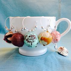 Ice Cream Wine Charms, Set of 6, Coffee or Tea Cup Charm, Hostess Gift, Peppermint, Mint Chocolate Chip, Strawberry, Salted Caramel, Scoop by KatarooClay on Etsy