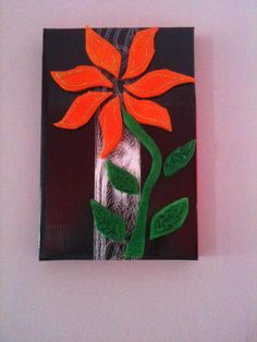 wall decor very quick and easy to make, suitable for kid crafts, just cut out the flower parts from a piece of sponge, colour them and stick them on a shoe box lid! That's it! Happy recycling by http://www.facebook.com/FizzyCreations