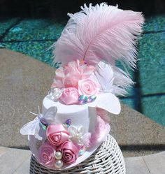 Pink Floral Butterfly Crystal Mini Top Hat by Fabulouslyflamboyant, $40.00