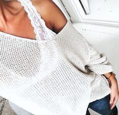 I like the lace tank under tops that go slightly off the shoulder. Not loving this sweater or that the shoulder is all the way down.