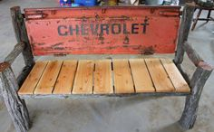 Chevy Luv tailgate bench. Made from cedar posts, and reclaimed fir boards.