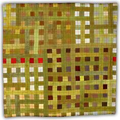 Sewing a contrasting stitch right up the middle of the squares looks brilliant! Eleanor McCain-Red with Brown Green