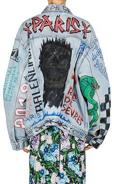 Denim on Denim – The Timeless Trend Punk Fashion, Denim Fashion, Street Fashion, Fashion Outfits, Custom Clothes, Diy Clothes, Grunge Jacket, Custom Leather Jackets, Painted Denim Jacket