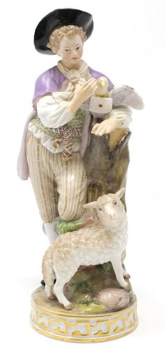 19TH C. MEISSEN PORCELAIN FIGURE, YOUNG MAN WITH PIGEON