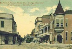 Biloxi. 1920. The busiest place in Biloxi Mississippi. Looking west down Howard Avenue at Lemeuse Street