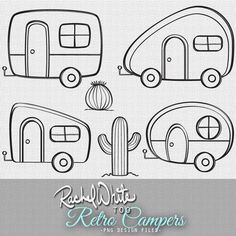 Retro Campers Vector Illustrations - 24 images, Color & Line Art - AI EPS… Vintage Embroidery, Embroidery Designs, Ribbon Embroidery, Machine Embroidery, Embroidery Monogram, Embroidery Stitches, Retro Campers, Vintage Campers, Vintage Rv