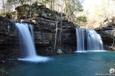 Twin Falls of Richland Creek, Ozark National Forest, Arkansas--We will be there this weekend :) Camping Spots, Camping And Hiking, Hiking Maps, Ozark National Forest, Wooden Bar Table, Hidden House, Twin Falls, Small Waterfall, Bars For Home