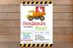 Construction Birthday Invitation, Construction Birthday Party, Construction Invitation, Self Editable PDF file, Instant Download, Boy Invite by NellysPrint on Etsy https://www.etsy.com/listing/293908581/construction-birthday-invitation