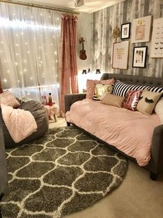Teen Girl Bedrooms - A handy take on teen girl room notes. For extra satisfying teenage girl room decor designs simply jump to the link to read the post idea 3217320015 now. Small Room Bedroom, Bedroom Sets, Bedroom Decor, Bedroom Lighting, Bedroom Lamps, Bedroom With Couch, Modern Bedroom, Stylish Bedroom, Bed Room