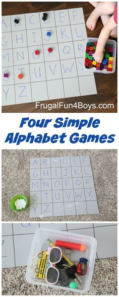Four Simple Alphabet Games that Preschoolers Will Love - Low prep activities… Preschool Letters, Preschool Kindergarten, Preschool Learning, Early Learning, Kids Learning, Alphabet Games For Kindergarten, Alphabet Games For Preschoolers, Learning Spanish, Teaching The Alphabet
