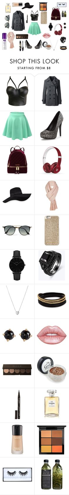 """""""Dark But Lighter"""" by emma-rilau on Polyvore featuring Lands' End, LE3NO, MICHAEL Michael Kors, Beats by Dr. Dre, San Diego Hat Co., Free People, Ray-Ban, Michael Kors, CLUSE and Links of London"""