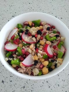Radish, green capsicum, chickpea, currants, tuna, pomegranate and quinoa salad