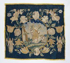 Anonymous   De droom van Jakob, Anonymous, c. 1660 - c. 1675   Kussen van tapijtweefsel met Jacob in een landschap, dromend aan de voet van een ladder, waarbij een engel staat (Gen. 28:10-15). Het kussen maakt deel uit van een serie kussens met de geschiedenis van Jacob, waarvan twee andere zich in het Rijksmuseum bevinden.