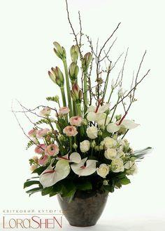 Contemporary Flower Arrangements, Beautiful Flower Arrangements, Beautiful Flowers, Easter Flower Arrangements, Large Floral Arrangements, Ikebana, Deco Floral, Arte Floral, Altar Flowers