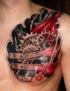 Heart Gears - Biomechanical Tattoo