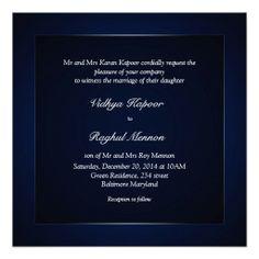Elegant Classy Pattern Blue Wedding Invitation