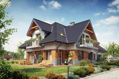 House Design Pictures, Modern House Design, Beautiful House Plans, Beautiful Homes, Casas Country, Hut House, Attic House, Cottage Plan, Home Design Plans
