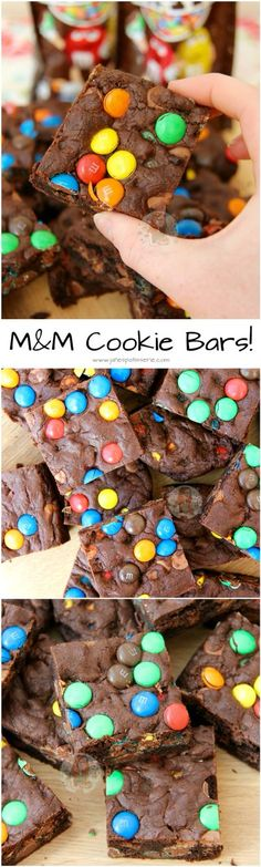 M&M Cookie Bars! ❤️ Super Chocolatey Cookie Dough full of M&M's, making THE Most Delicious M&M Cookie Bars Ever!
