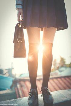 Seifuku School Uniform Girls, Japanese Girl, High Waisted Skirt, Album, Legs, Cute, Kawaii, Fashion, Japan Girl