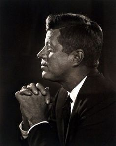 John F. Kennedy, 1960 • Yousuf Karsh, The light glowing on his face makes this photo of Kennedy outstanding.  One of the best photos of him.